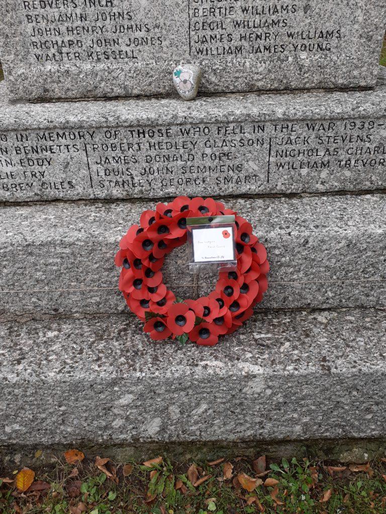 Poppy wreath, Ludgvan Parish Council 2020